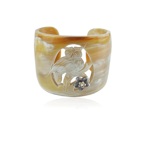 Horn Owl Carved Cuff