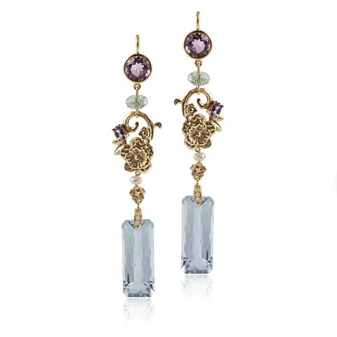 Quartz Amethyst Drop Linear Earring
