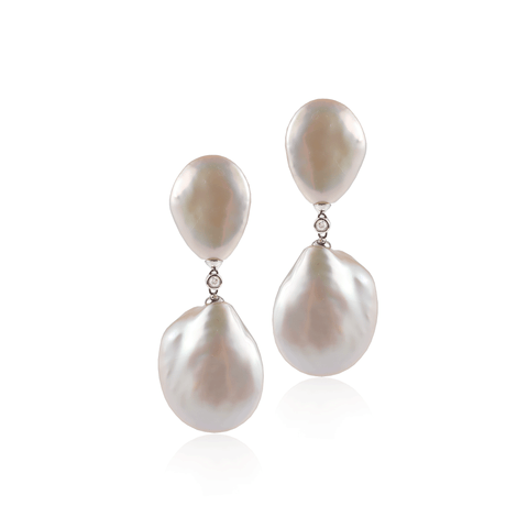 Double Pearl Diamond Drop Earring
