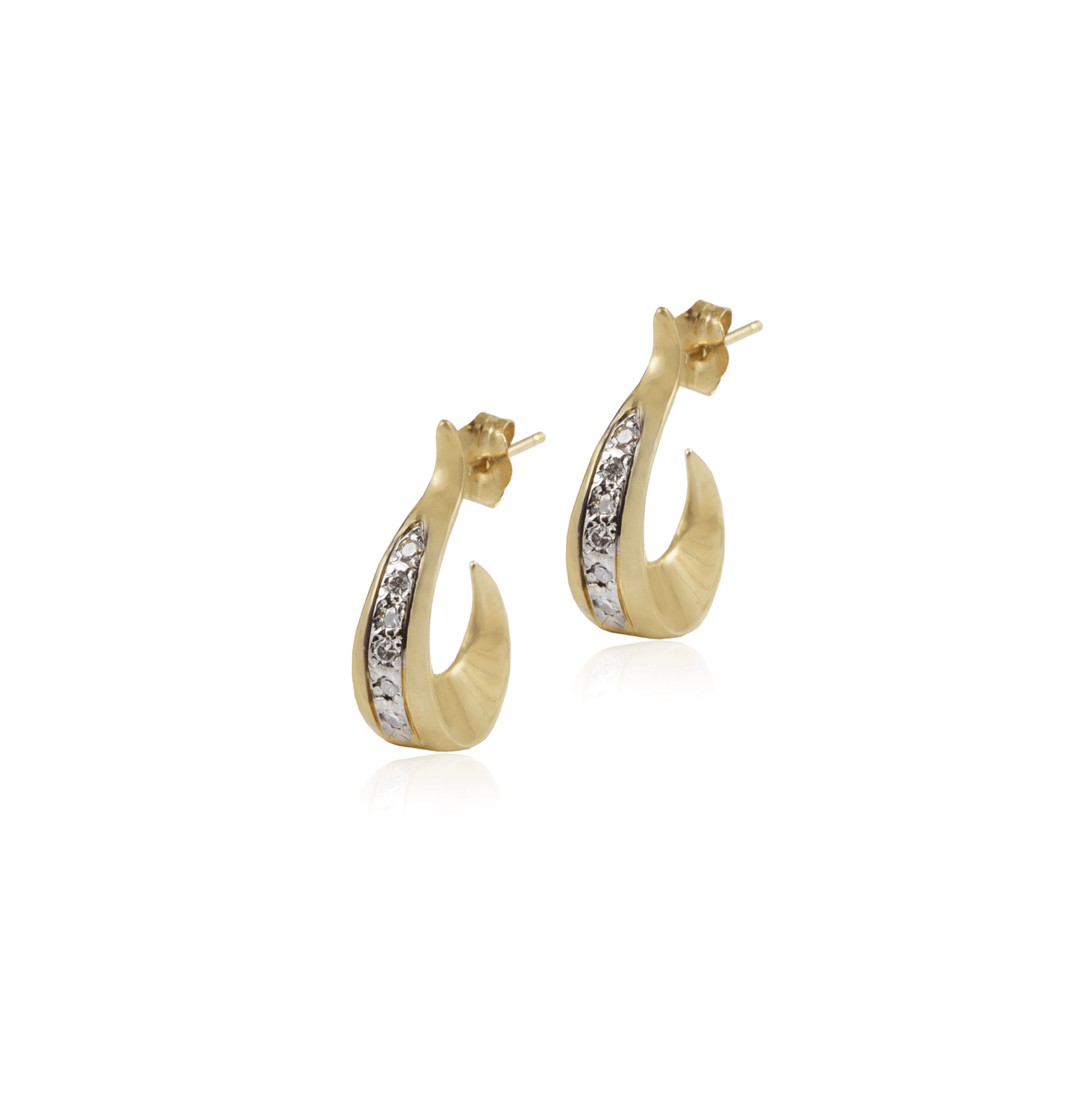 Small Gold Pave Diamond Hoop Earring