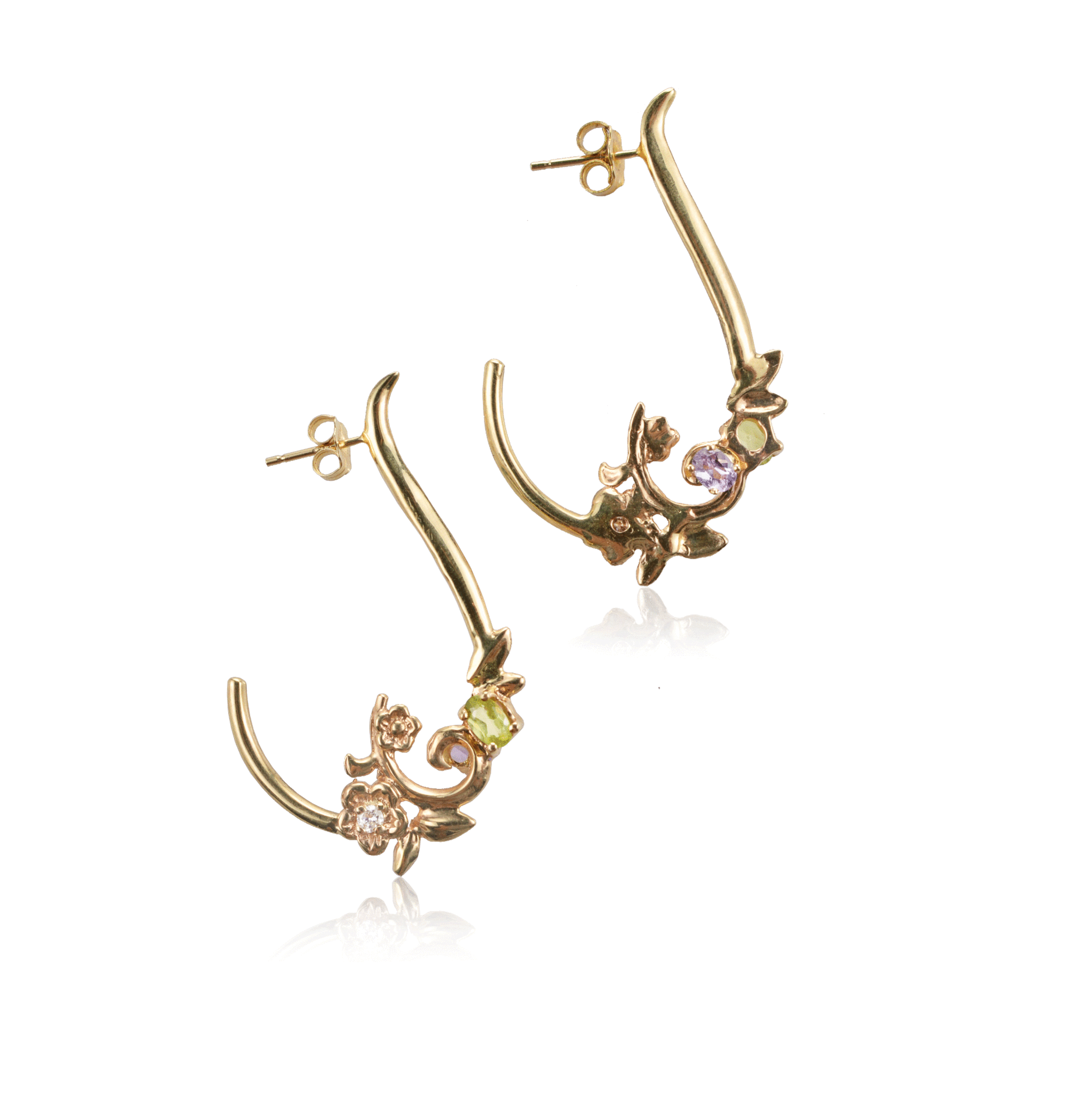 Scrolling Floral Yellow Gold Hoop Earring