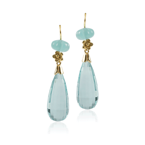 Aqua Chalcedony Double Drop Earring