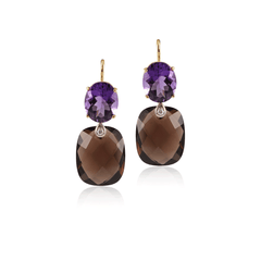 Amethyst and Smokey Topaz Earrings