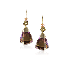 Ametrine Pyramid Drop Earring