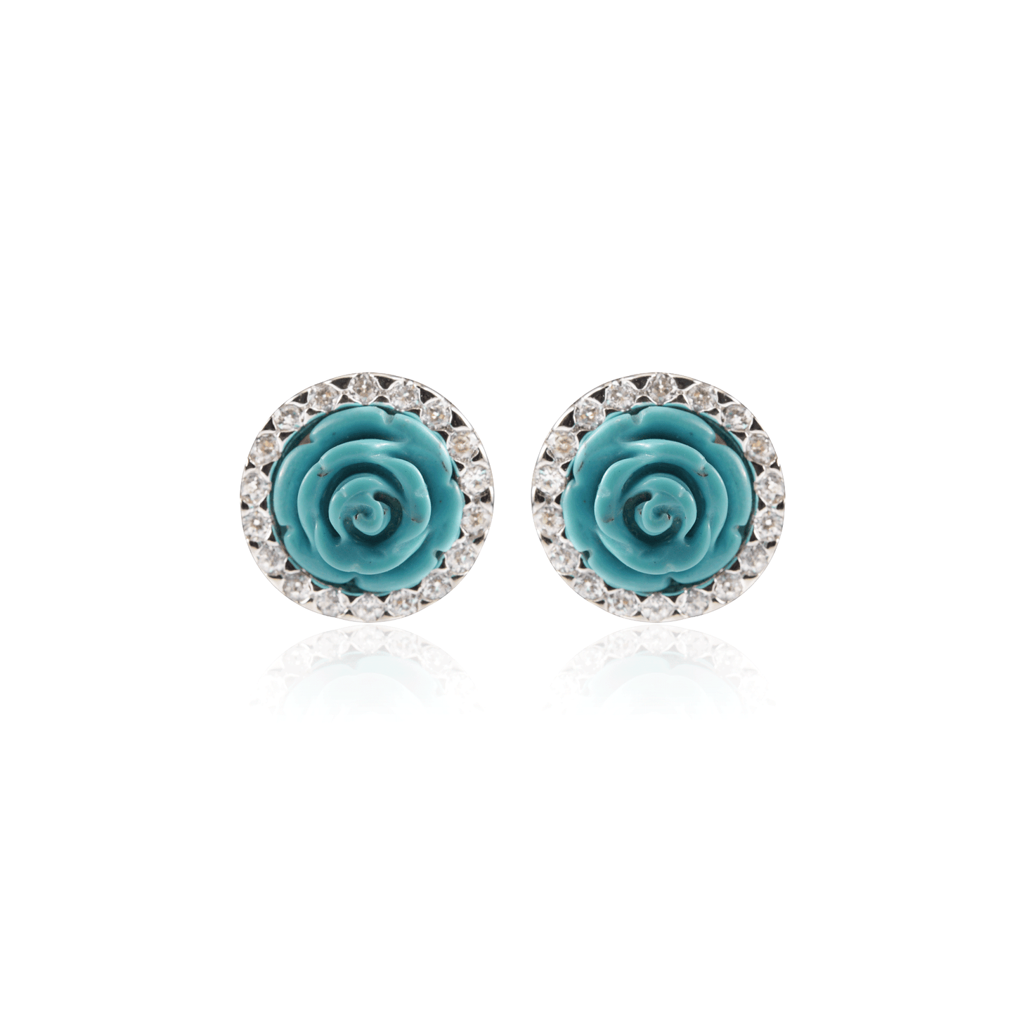 Turquoise Carved Rose Earring
