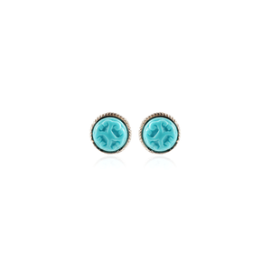 Small Carved Turquoise Stud Earring