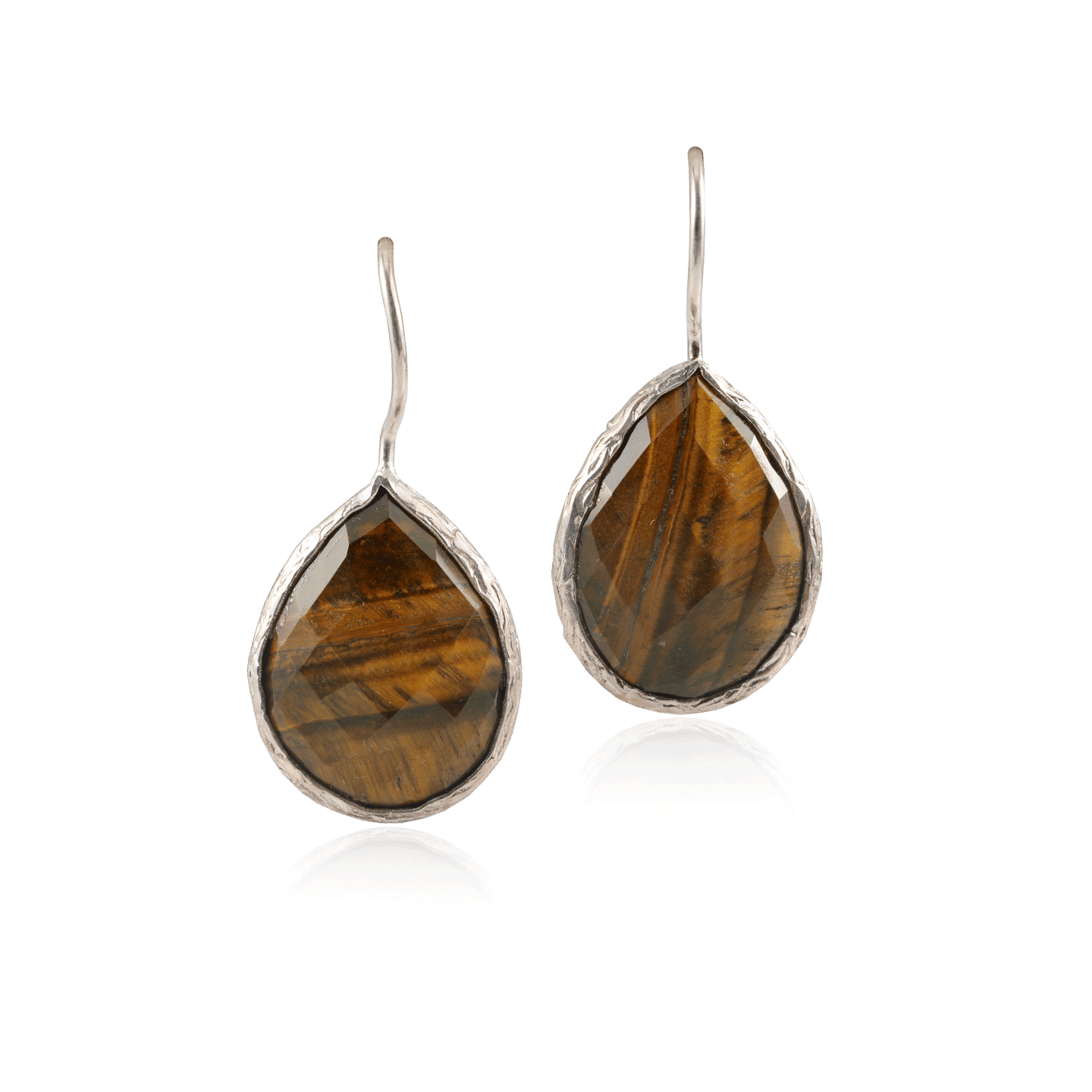 Tiger Eye Teardrop Silver Earring