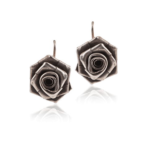 Silver Rose Hook Earring