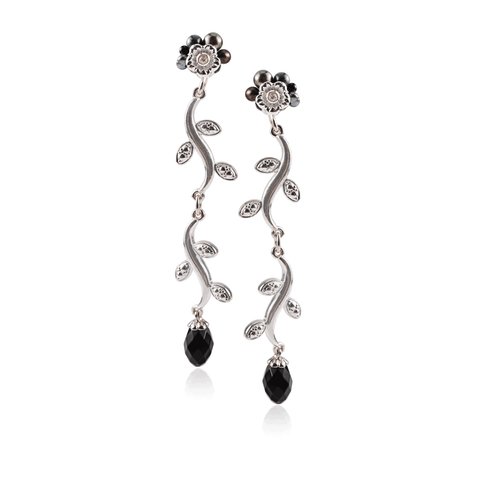 Onyx Silver Flower Linear Drop Earring
