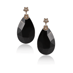Black Faceted Teardrop Flower Earring