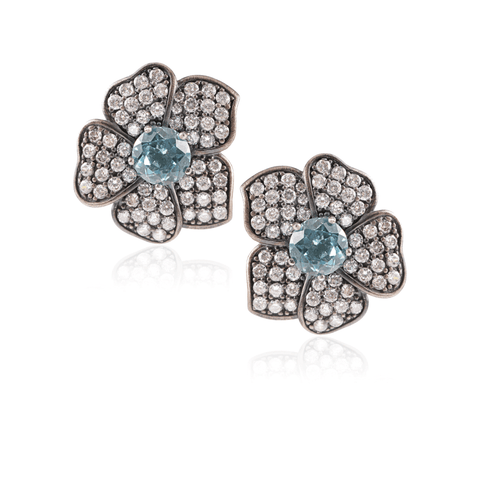 Silver Blue Quartz Pave Flower Earring