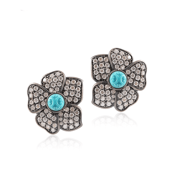 Silver Turquoise Pave Flower Earring