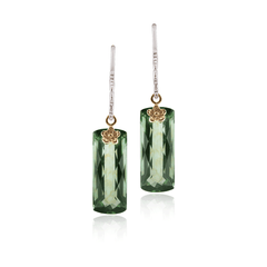 Green Quartz and gold floral earrings