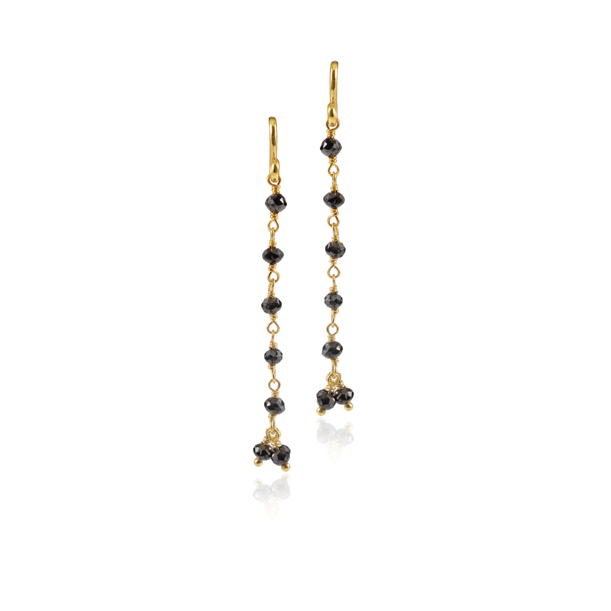 Black Diamond Yellow Gold Linear Drop Earring