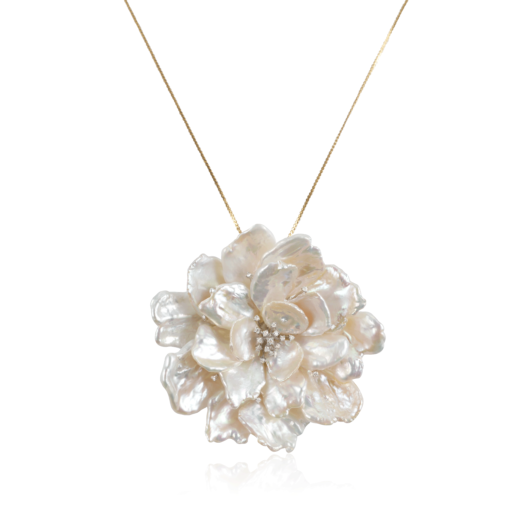 Pearl Flower Diamond Pendant Pin/ Necklace