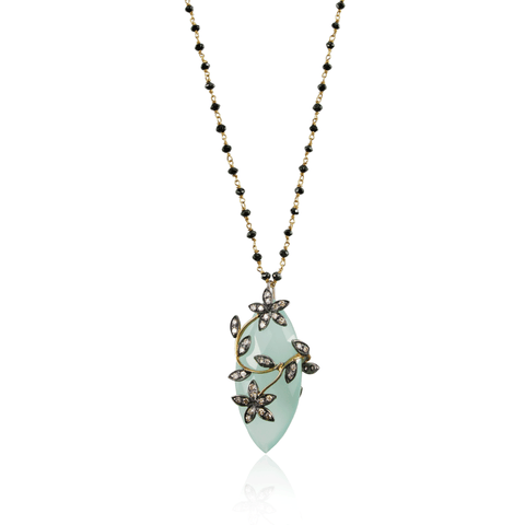 Long Black Diamond Chain Chalcedony Floral Pendant Necklace