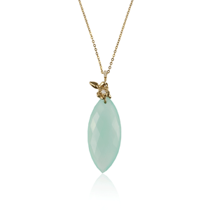 Green Chalcedony Diamond Pendant Short Necklace