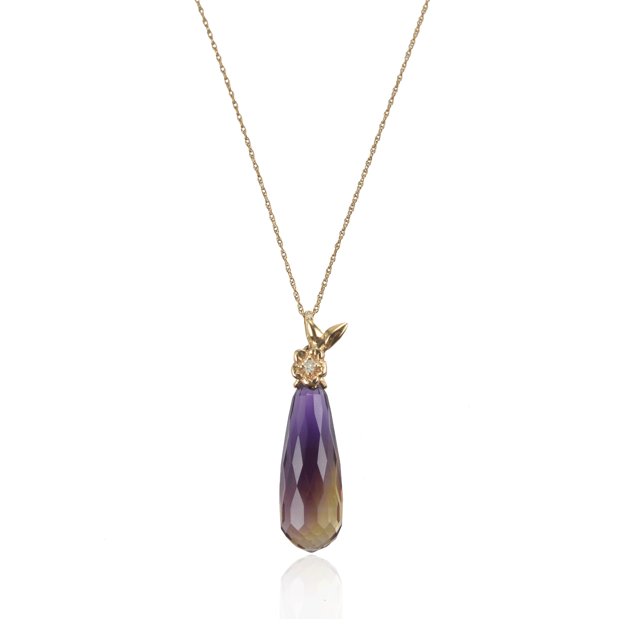 Ametrine Drop Pendant Flower Short Necklace