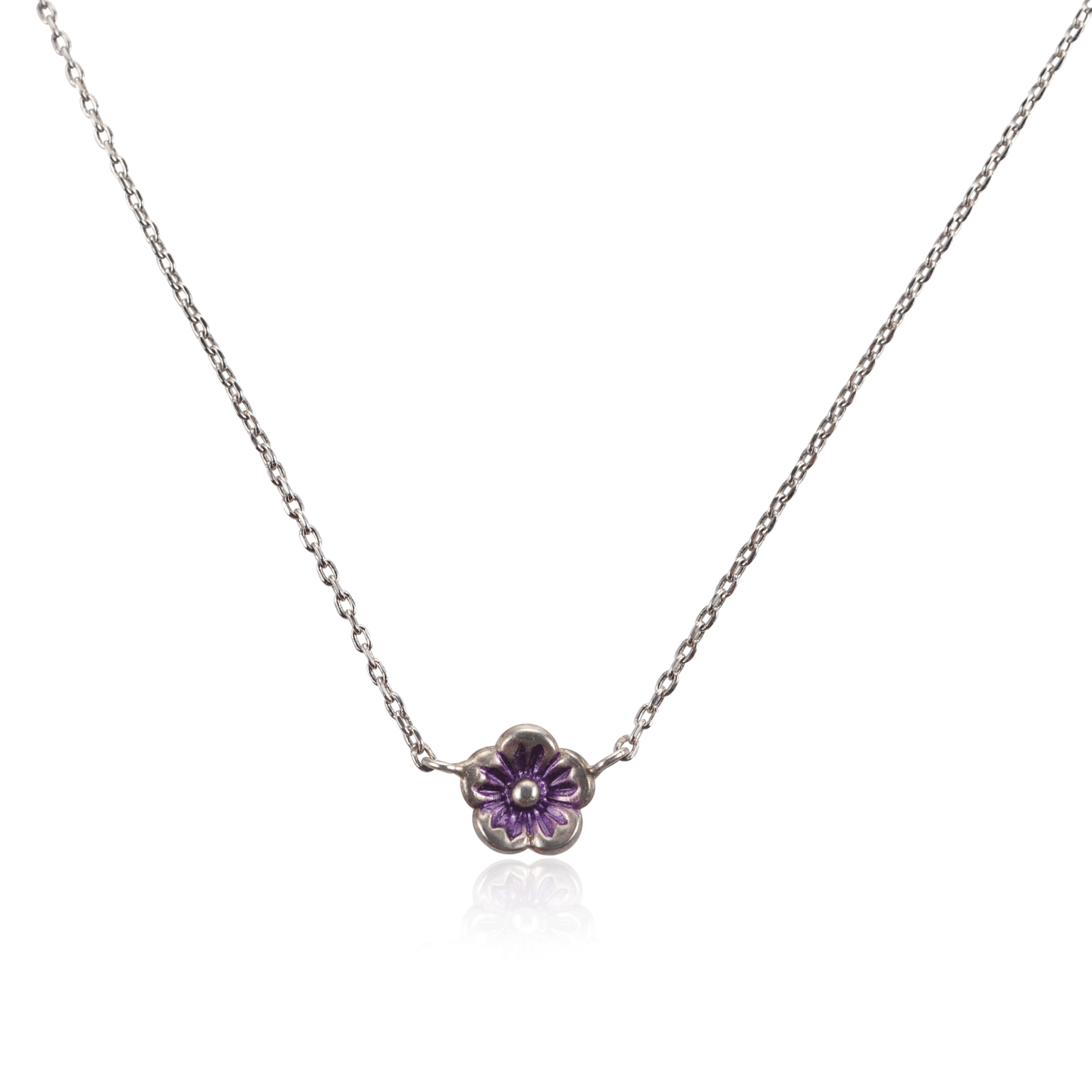 Small Silver Purple Flower Necklace
