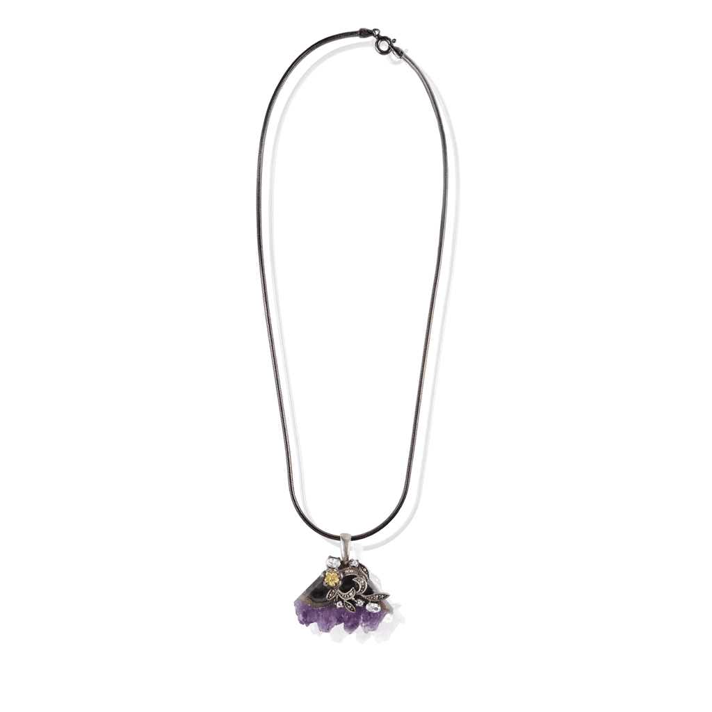Amethyst Geode Flower Pendant Necklace