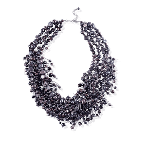 Purple Layered Short Fringe Pearl Necklace