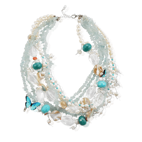 Layered Light Blue Rock Candy Pearl Butterfly Short Necklace