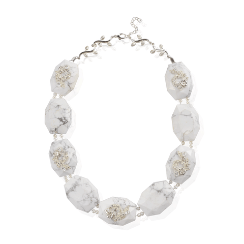 Large White Marble Pearl Statement Necklace