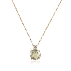 Small Green Quartz Diamond Pendant Necklace