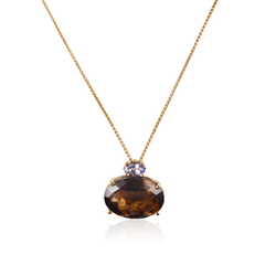Oval Smoky Topaz Iolite Pendant Gold Necklace