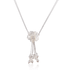 Mother of Pearl Flower Tassel Pendant Necklace
