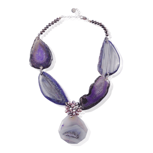 Purple Stone Slice Necklace