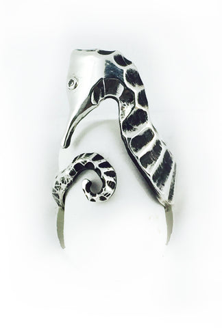 Seahorse  Diamond Eye Ring in Sterling Silver