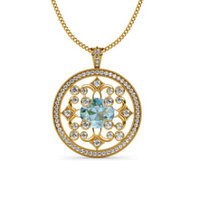 Load image into Gallery viewer, Aquamarine and diamond Circular Pendant Necklace