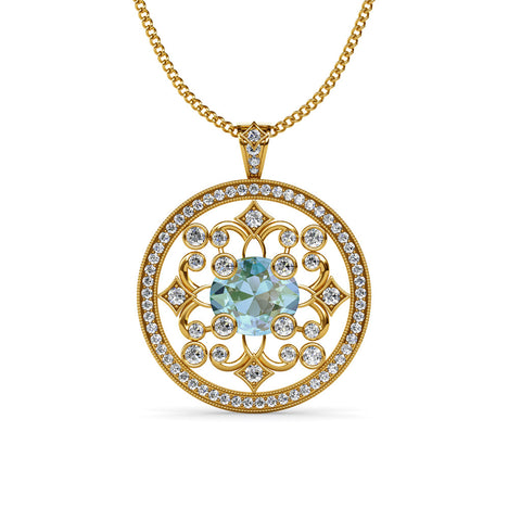 Aquamarine and diamond Circular Pendant Necklace