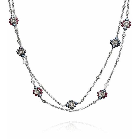 Forget Me Not Floral Silver Chain Necklace