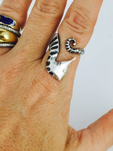 Load image into Gallery viewer, Seahorse  Diamond Eye Ring in Sterling Silver