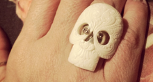 Load image into Gallery viewer, Hand Carved Sugar Skull Ring with Diamond Eyes
