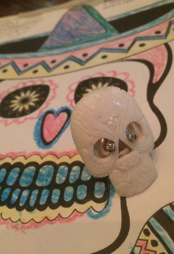 Hand Carved Sugar Skull Ring with Diamond Eyes