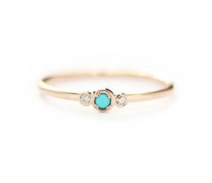 Small Turquoise and Diamond Seed Ring