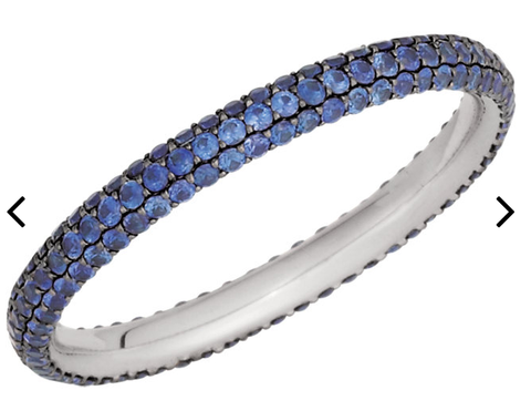Micro Pave Wedding Band - Blue Sapphire