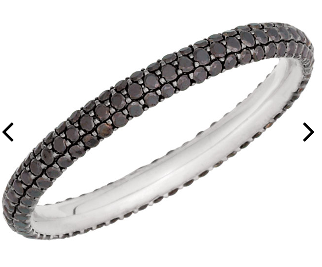 Micro Pave - BLACK Diamond - White Gold - Eternity Band