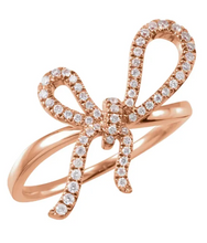Load image into Gallery viewer, Rose Gold and Diamond Ribbon Ring