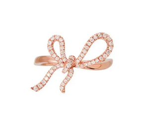 Rose Gold and Diamond Ribbon Ring