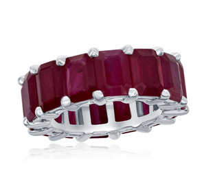 Emerald Cut Ruby Eternity Band in 14KT White Gold