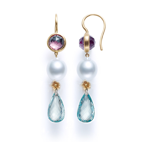 Amethyst, Pearl and Aqua Quartz Triple Drop Earring
