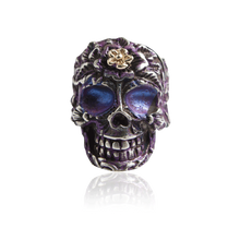Load image into Gallery viewer, Signature Sterling Silver Skull Ring with Violet Enamel
