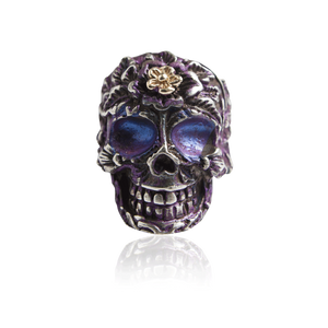 Signature Sterling Silver Skull Ring with Violet Enamel