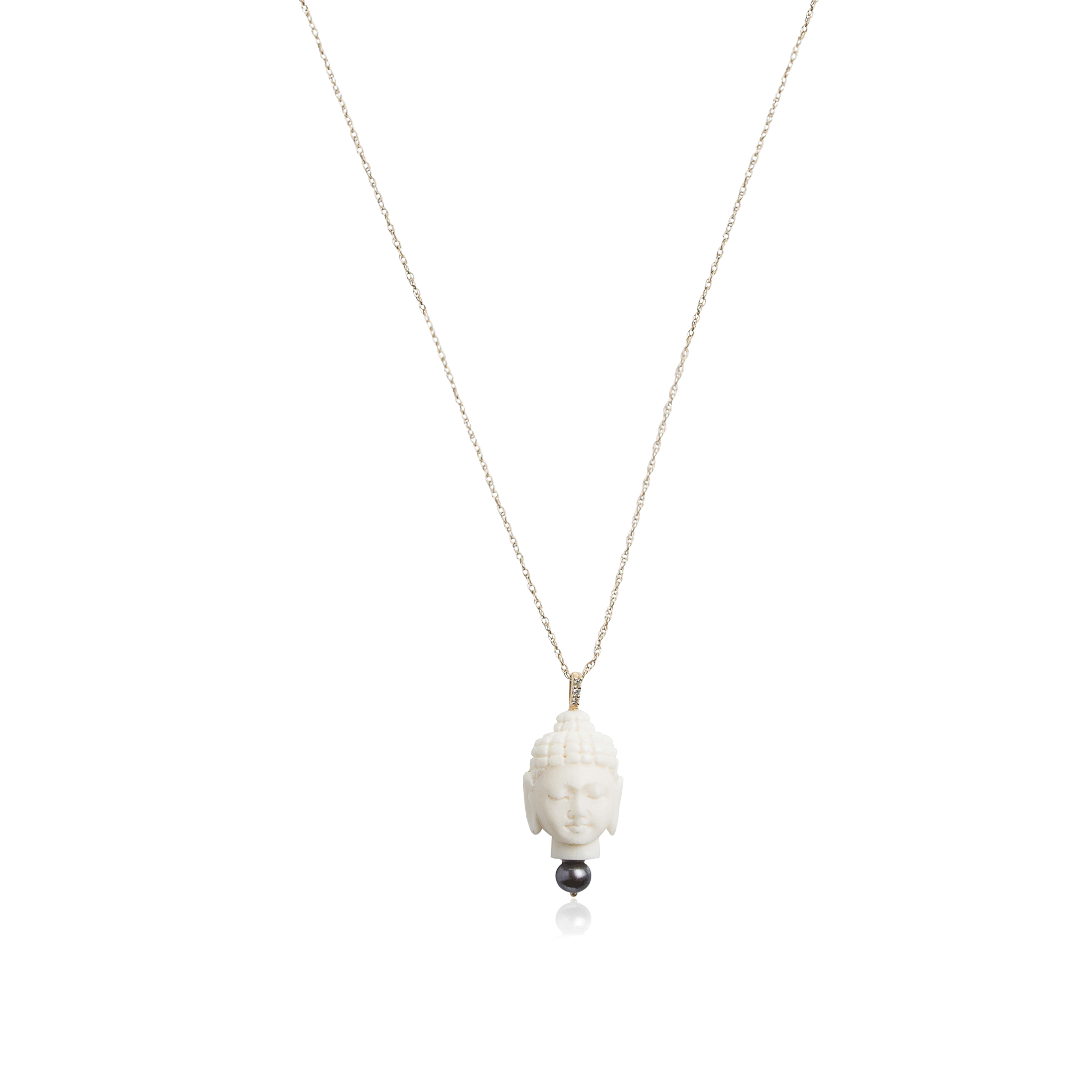 724c1af2014c18 Buddha and Black Pearl Necklace – A. JARON Fine Jewelry