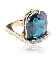 London Blue Mod Cantilever Ring