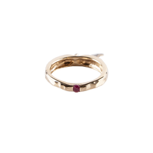 Load image into Gallery viewer, Golden Apple Ring with Diamond Leaf and Ruby Core